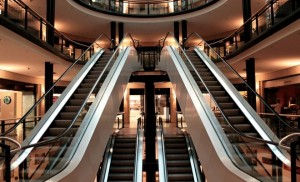 A set of shopping escalators