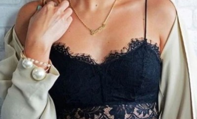 zoomed in chest of a woman wearing a bralette