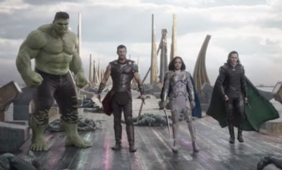 Thor, Hulk and Lori standing side by side