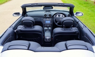 Interior of a convertable car with black leather