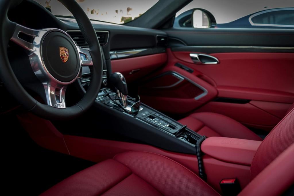 luxury red car interior