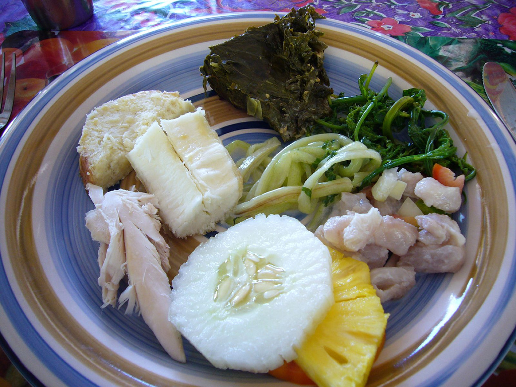 Fiji food, a plate with fruit and vegetables
