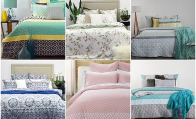 a collage of many examples of bed sheets in beds