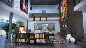 Spacious living area with a centre bookshelf and paintings on the wall