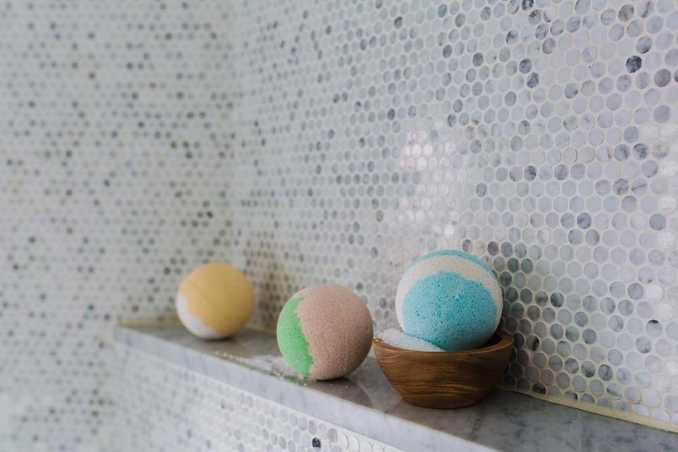 Bathroom tiles and 3 bath balls