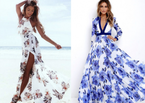 two women wearing maxi dresses with floral prints