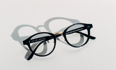 black frame reading glasses in a white background