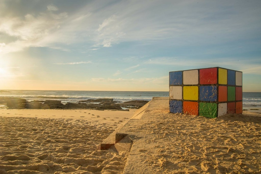 Rubiks cube in a sandy beach