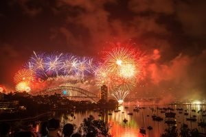 Fireworks in Sydney Harbour Bridge