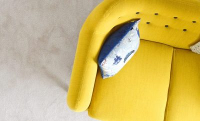 yellow couch from upper view