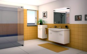 bathroom with shower and basin