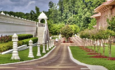 Manicured lawns with a walkway