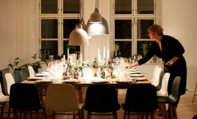 A beautiful set dinner table