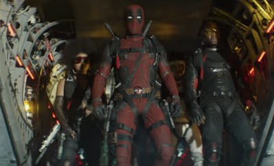 Deadpool with other mutants jumping off a plane