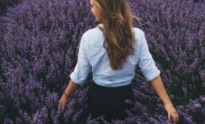 Back shot of a woman walking in a lavender field