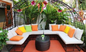 Outdoor sofa with bright coloured cushions