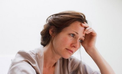 Woman looking stressed and worried