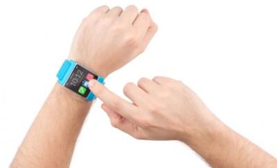 Male wrists wearing a blue strap watch