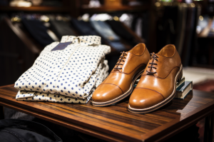 Men shirts and shoes neatly on top of table