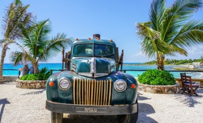 vintage car parked at the beach surrounded by palm trees