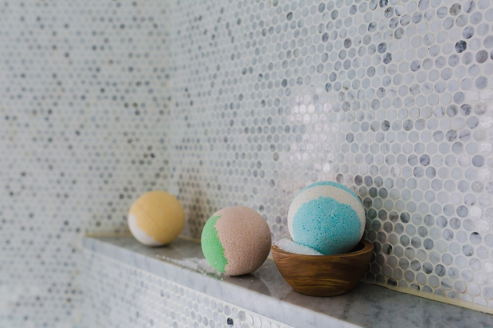 Bathroom tiles and 3 bath balls