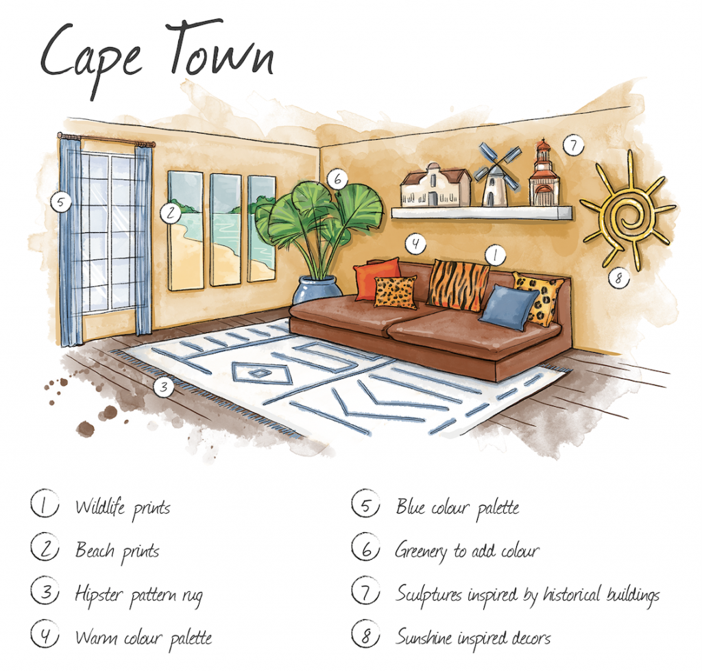 Hand drawn cape town home interior