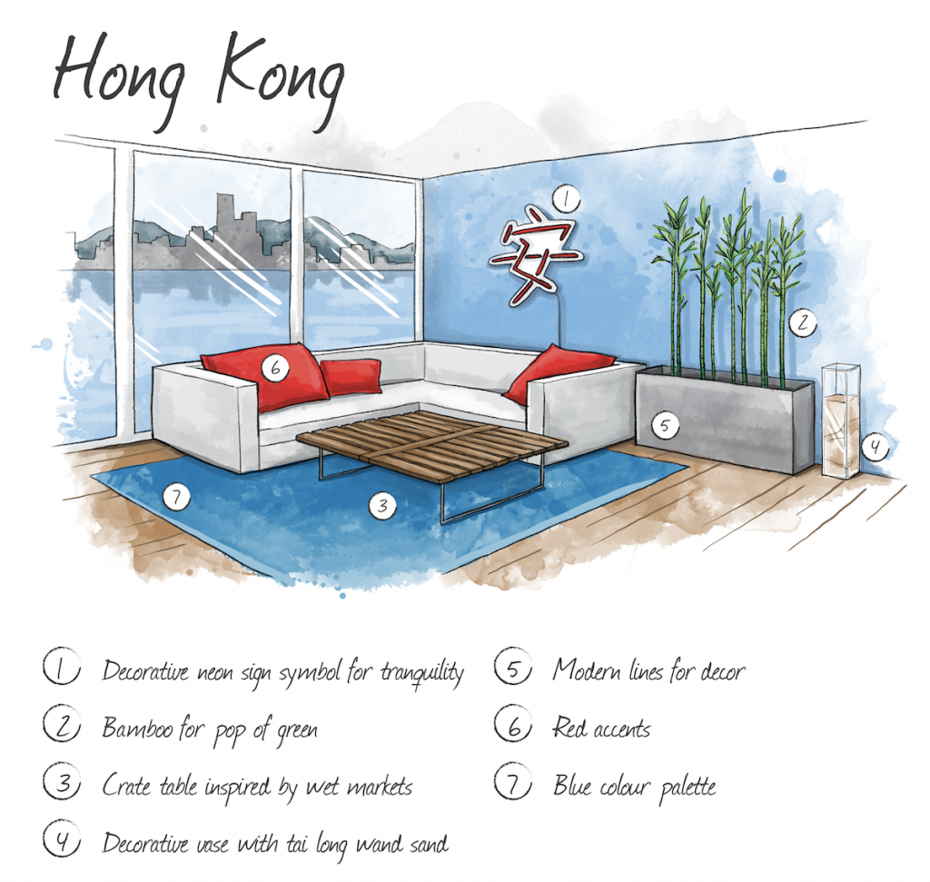 Hand drawn illustration of Hong Kong home interior