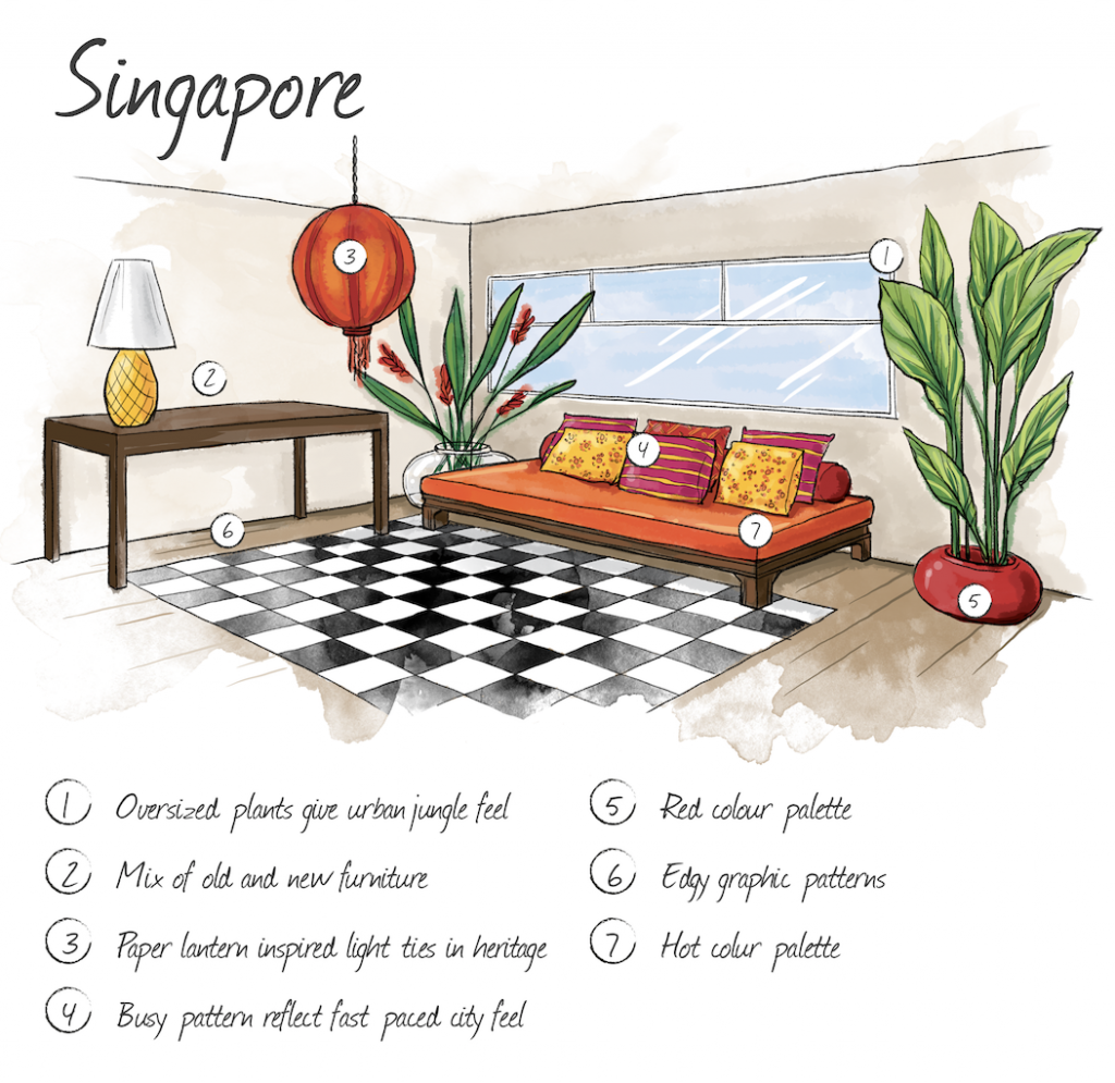 Hand drawn illustration of Singapore home interior
