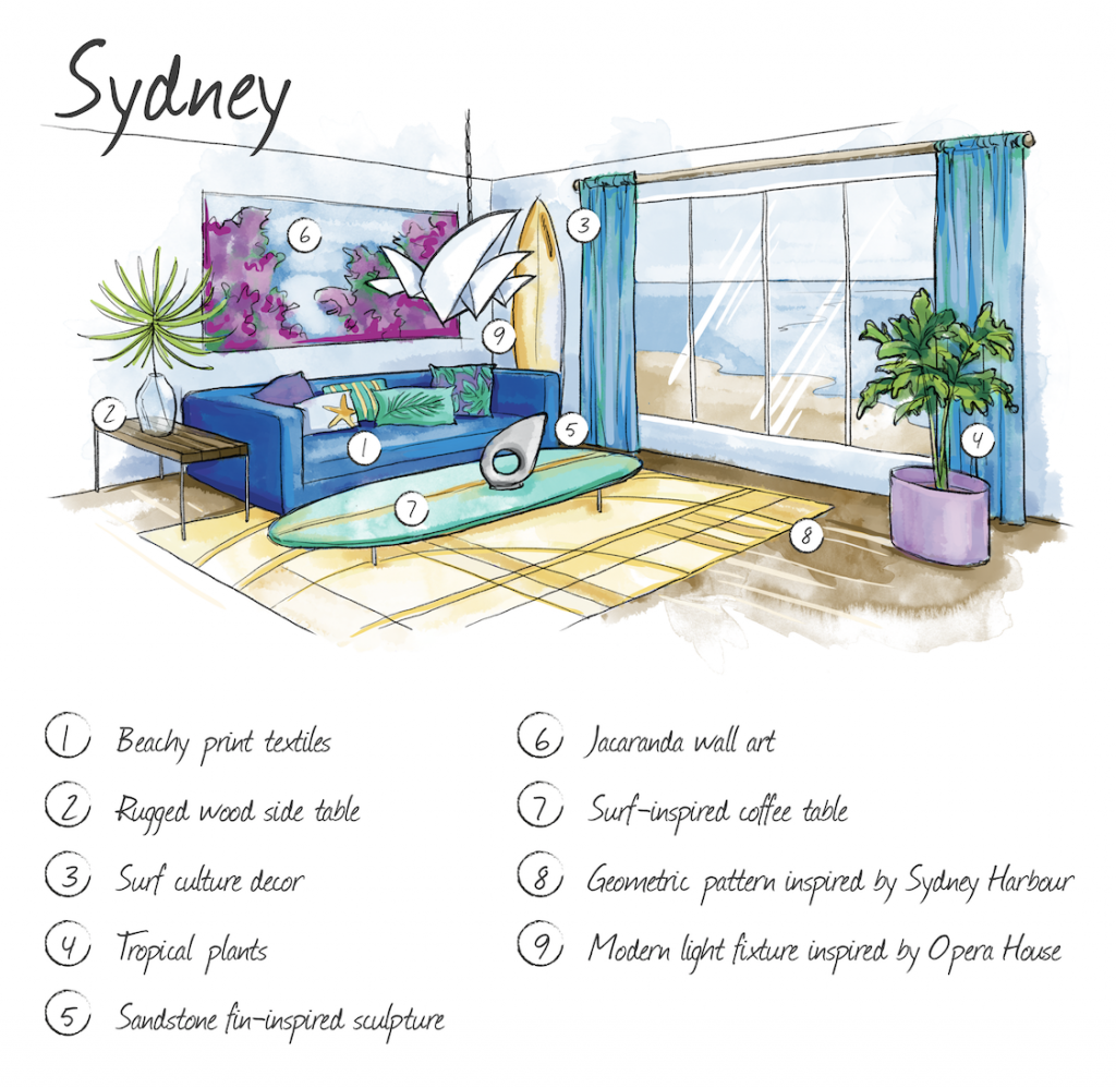 Hand drawn illustration of Sydney home interior