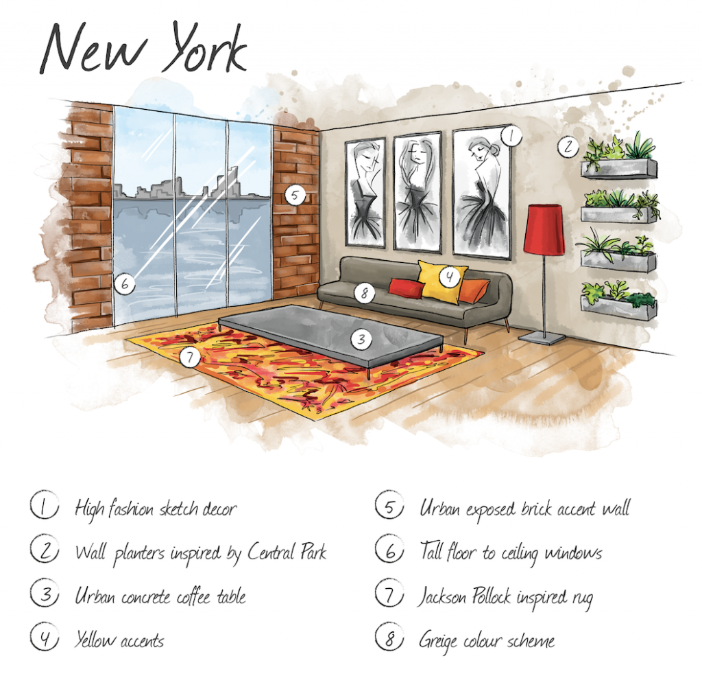 Hand drawn illustration of New York home interior