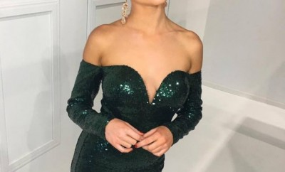 Shoulderless, sequinned green dress