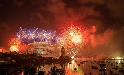 Fireworks in Sydney Harbour Bridge