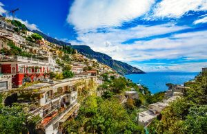 An overview of Amalfi cliff and coastal line