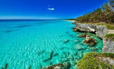 Close up of crystal clear coast waters of New Caledonia