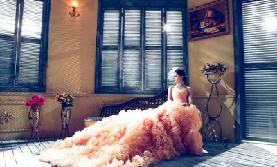 Lady in pink wedding dress