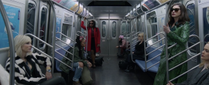 Ocean 8 actors in a subway