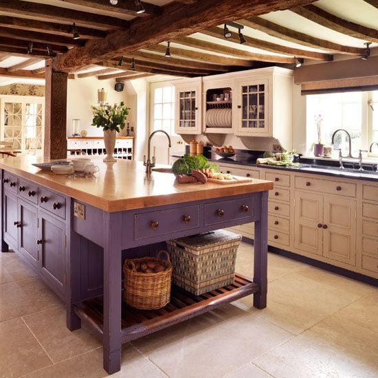 Kitchen Trends 2018 - Ideas & Inspiration- Purple kitchen island
