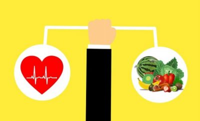 yellow background of a hand balancing a heart and a plate of healthy food