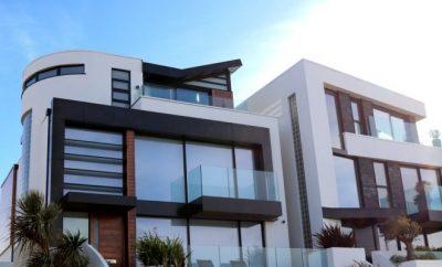 New, white modern house
