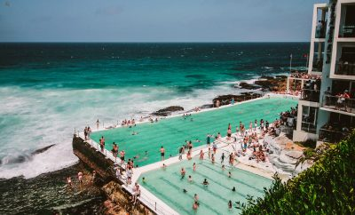 Bondi swimming pool filled with swimmers