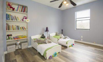 Kids bedroom with Disney soft toys decor