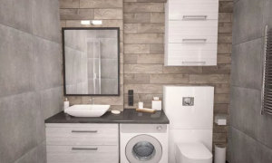 modern bathroom fitted with a washing machine