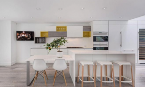 Simple and minimalist white kitchen