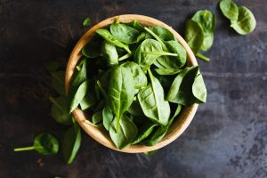 top view of spinach in a bowl