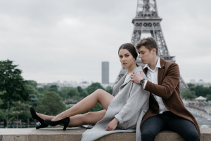 young couple with Eiffel Tower