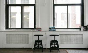 simplistic lounge with minimal furniture