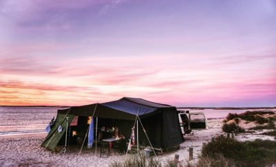 Camping tent near the beach