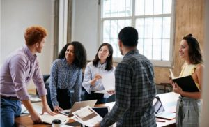 Millennials working together at work.