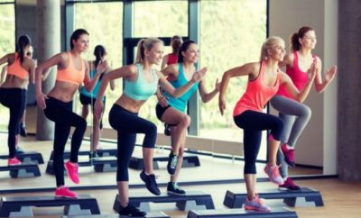 group of women doing an aerobics class