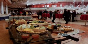 Long table with food at office event